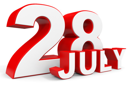 28: July 28. 3d text on white background. Illustration.