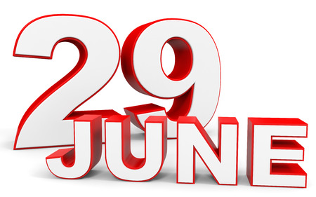 twenty ninth: June 29. 3d text on white background. Illustration. Stock Photo
