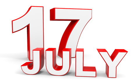 17: July 17. 3d text on white background. Illustration.