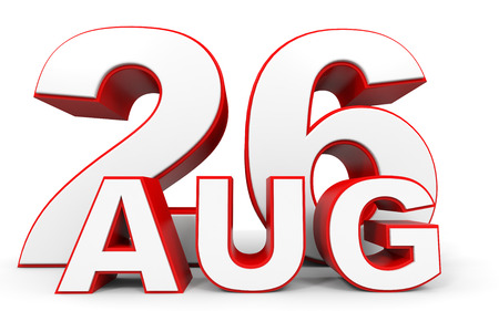 august: August 26. 3d text on white background. Illustration.