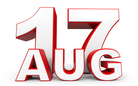 17th: August 17. 3d text on white background. Illustration.