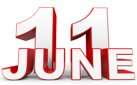 number 11: June 11. 3d text on white background. Illustration.