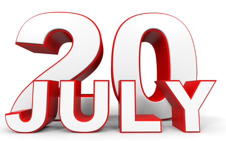 20: July 20. 3d text on white background. Illustration. Stock Photo