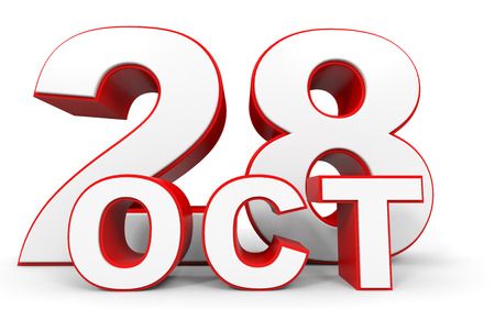 28: October 28. 3d text on white background. Illustration.