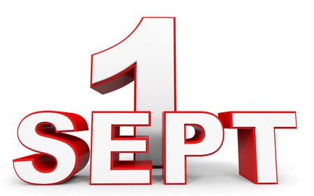 september 1: September 1. 3d text on white background. Illustration.