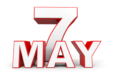 may: May 7. 3d text on white background. Illustration.