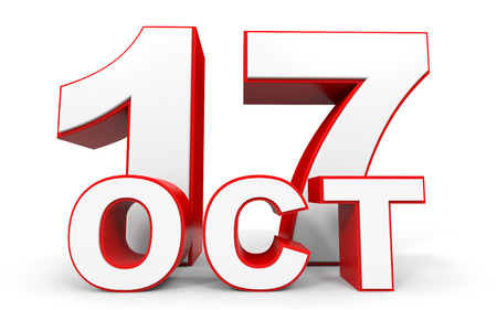 17th: October 17. 3d text on white background. Illustration. Stock Photo