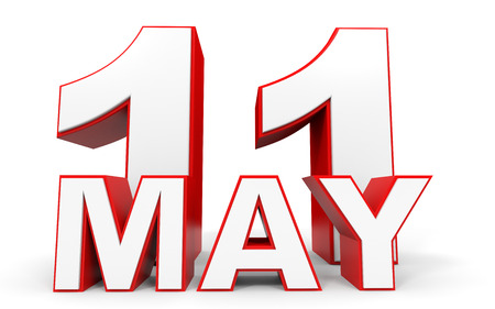 number eleven: May 11. 3d text on white background. Illustration. Stock Photo