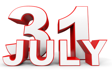 31th: July 31. 3d text on white background. Illustration.