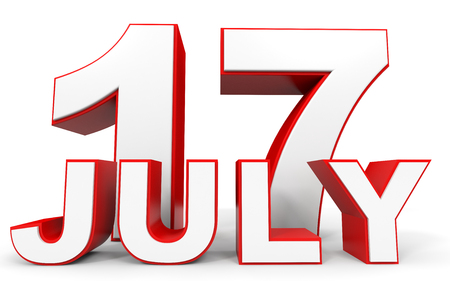 17th: July 17. 3d text on white background. Illustration.