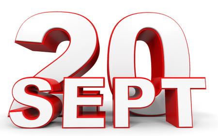 20th: September 20. 3d text on white background. Illustration.