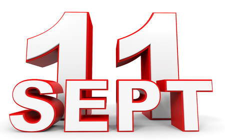 number eleven: September 11. 3d text on white background. Illustration. Stock Photo