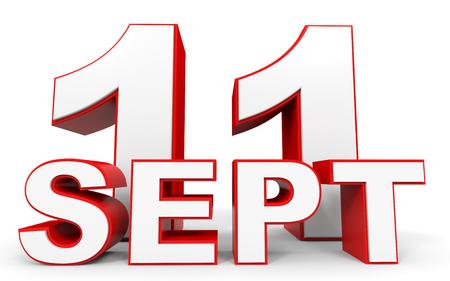 eleventh: September 11. 3d text on white background. Illustration. Stock Photo