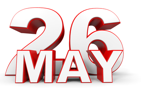26th: May 26. 3d text on white background. Illustration. Stock Photo