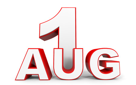 august: August 1. 3d text on white background. Illustration. Stock Photo