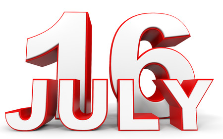 sixteenth note: July 16. 3d text on white background. Illustration.