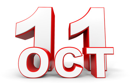 eleventh: October 11. 3d text on white background. Illustration.