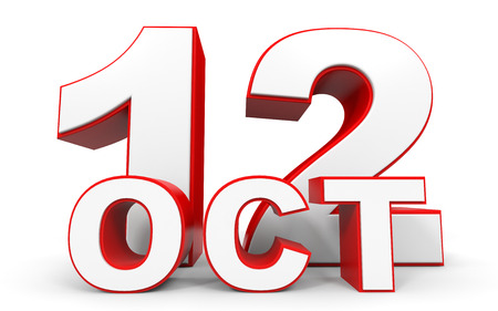 a 12: October 12. 3d text on white background. Illustration.