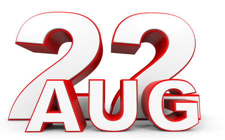august: August 22. 3d text on white background. Illustration. Stock Photo