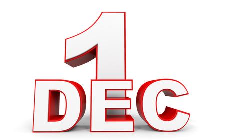 in december: December 1. 3d text on white background. Illustration.