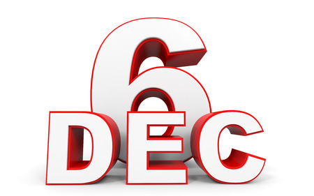 6th: December 6. 3d text on white background. Illustration. Stock Photo