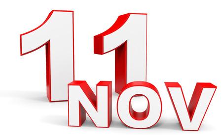 11 number: November 11. 3d text on white background. Illustration.
