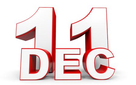 eleventh: December 11. 3d text on white background. Illustration.