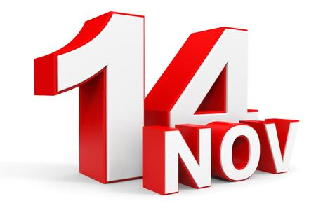 14: November 14. 3d text on white background. Illustration.