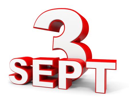 september: September 3. 3d text on white background. Illustration.