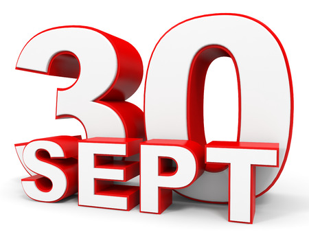 the 30: September 30. 3d text on white background. Illustration. Stock Photo