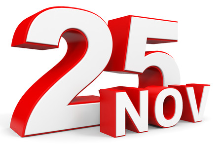 the twenty fifth: November 25. 3d text on white background. Illustration.