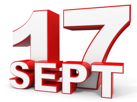 september: September 17. 3d text on white background. Illustration.