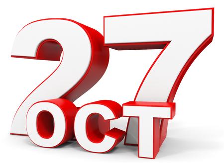 27: October 27. 3d text on white background. Illustration.