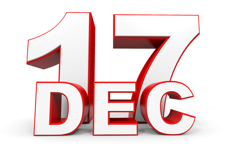 17th: December 17. 3d text on white background. Illustration.