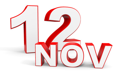 12: November 12. 3d text on white background. Illustration.