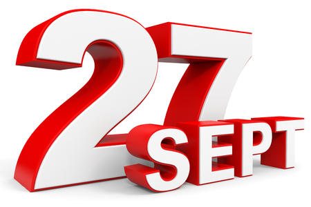 27: September 27. 3d text on white background. Illustration.