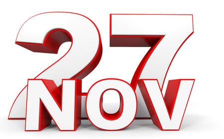 seventh: November 27. 3d text on white background. Illustration.