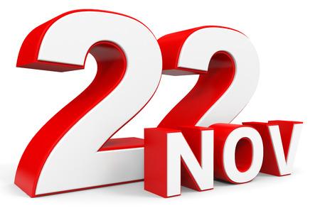 2 november: November 22. 3d text on white background. Illustration. Stock Photo