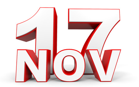 seventeenth: November 17. 3d text on white background. Illustration.
