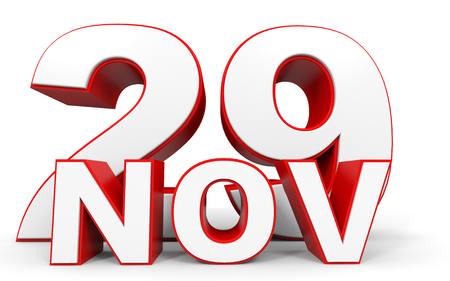 twenty ninth: November 29. 3d text on white background. Illustration.