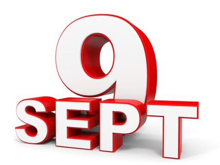 9th: September 9. 3d text on white background. Illustration. Stock Photo