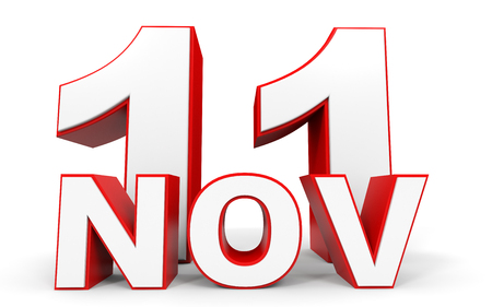 eleventh: November 11. 3d text on white background. Illustration.