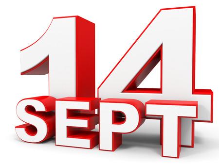 14: September 14. 3d text on white background. Illustration.