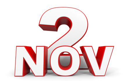 2 november: November 2. 3d text on white background. Illustration.
