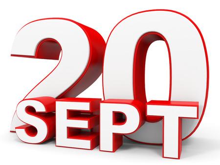 20: September 20. 3d text on white background. Illustration.