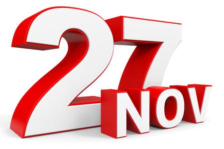 27: November 27. 3d text on white background. Illustration.