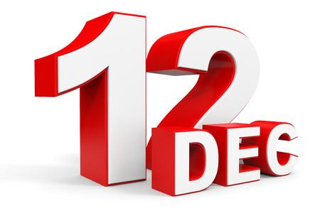 12: December 12. 3d text on white background. Illustration.