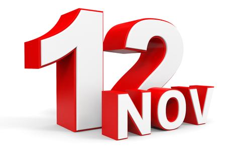 12: November 12. 3d text on white background. Illustration.