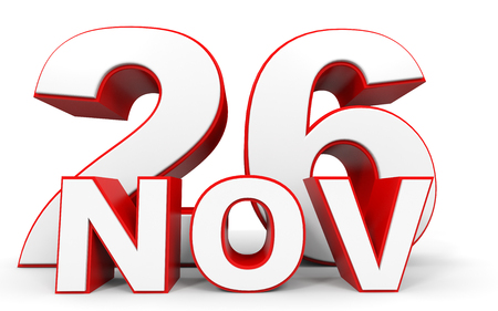 twenty six: November 26. 3d text on white background. Illustration.
