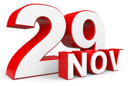 twenty ninth: November 29. 3d text on white background. Illustration.